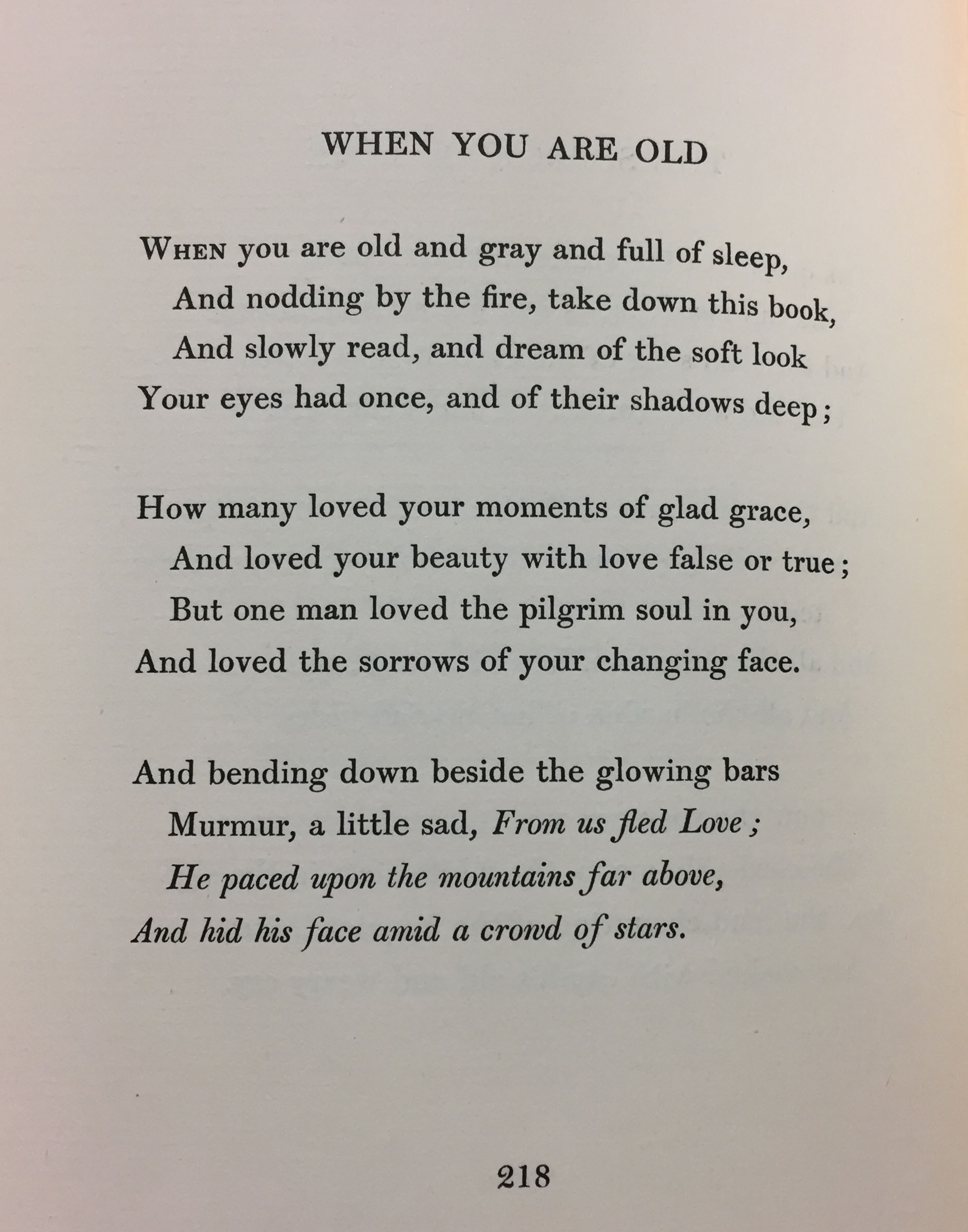 "Original version of the poem, ""When You Are Old,"" as it appears in W. B. Yeats, Poems (London: T. Fisher Unwin, 1895) (PR5900 .A3 1895)"