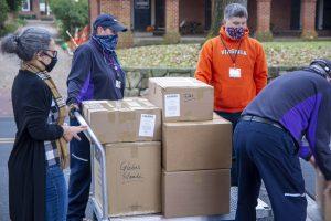 UVA Library staff unloading a truck