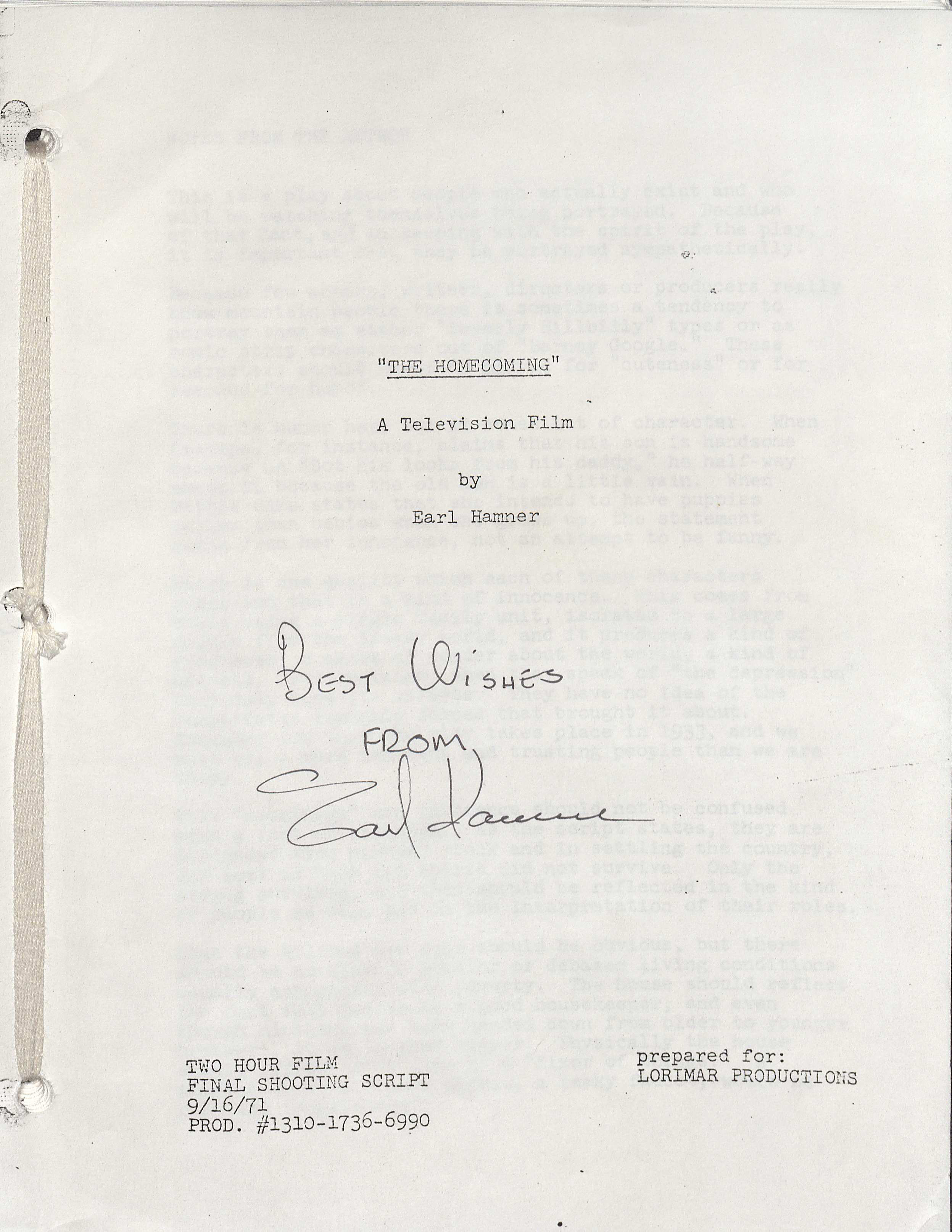 "First page of film script for ""The Homecoming"""