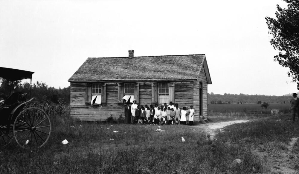 Photograph of Virginia Randolph visiting a one room school in Henrico, County, Va (circa 1915/1941).