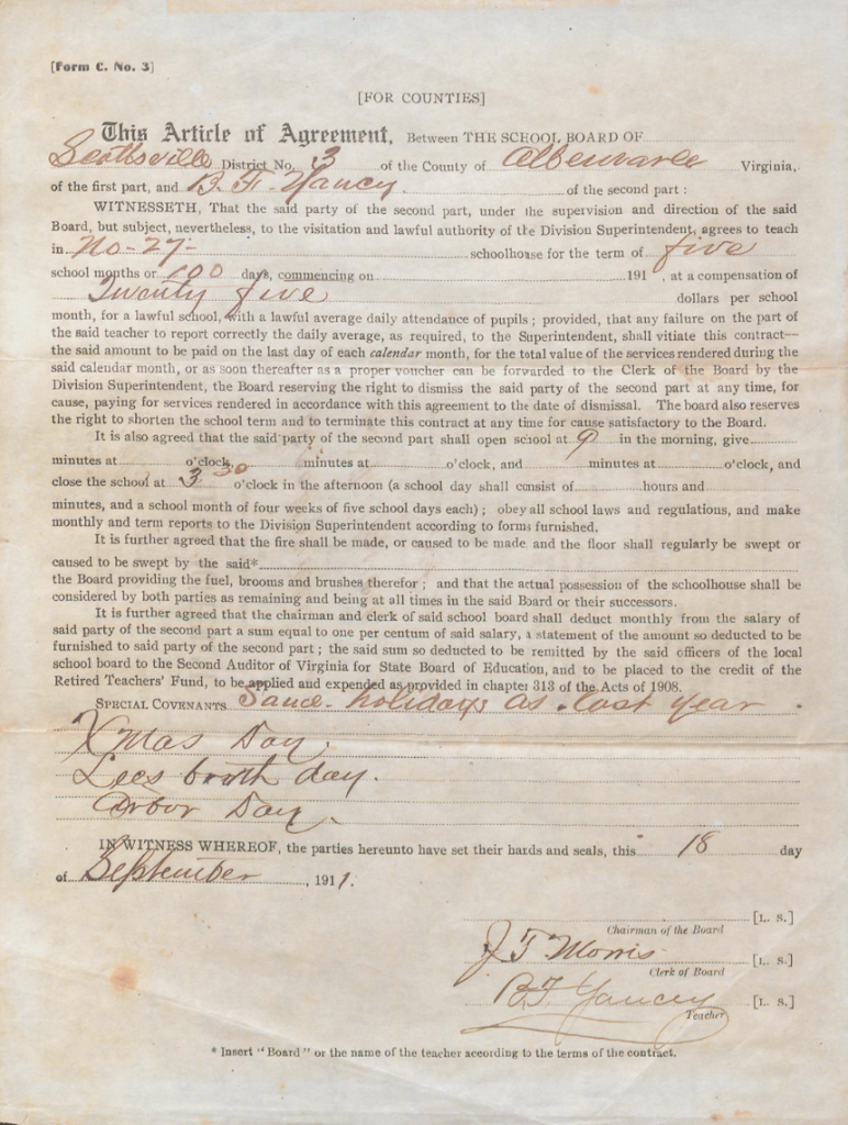 Benjamin F. Yancey's 1911 contract with Albemarle County for teaching