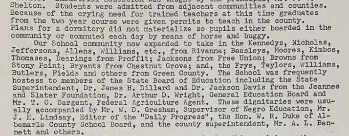 Albemarle Training School excerpt