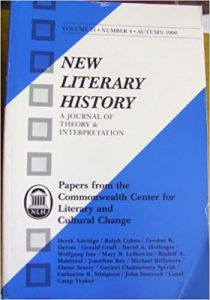 Autumn 1999 cover of New Literary History: Papers from the Commonwealth Center for Literary and Cultural Change