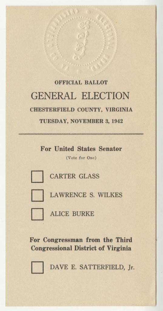 Scan of Official Ballot, General Election with Carter Glass on ballot